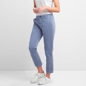 GAP Girlfriend Chino Trousers Eyelet Embroidery
